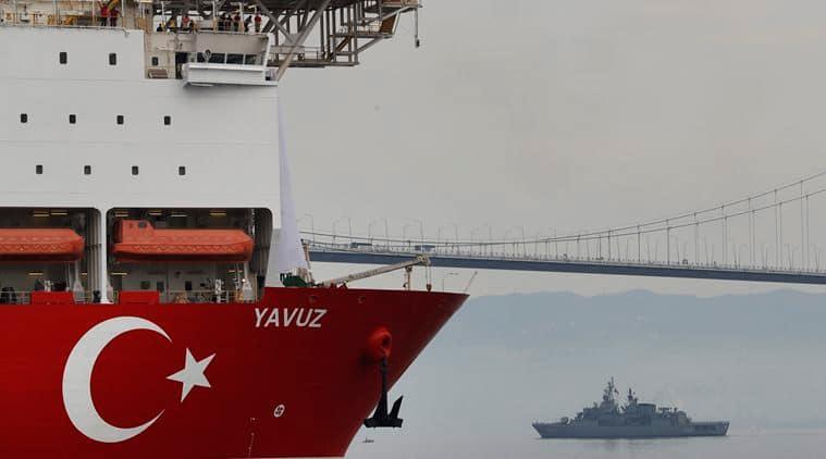 turkey, drilling ship, turkey drilling ship, cyprus turkey, cyprus drilling ship, european union cyprus, yuvuz drilling ship, yuvuz turkey, yuvuz cyprus, cyprus, world news, indian express