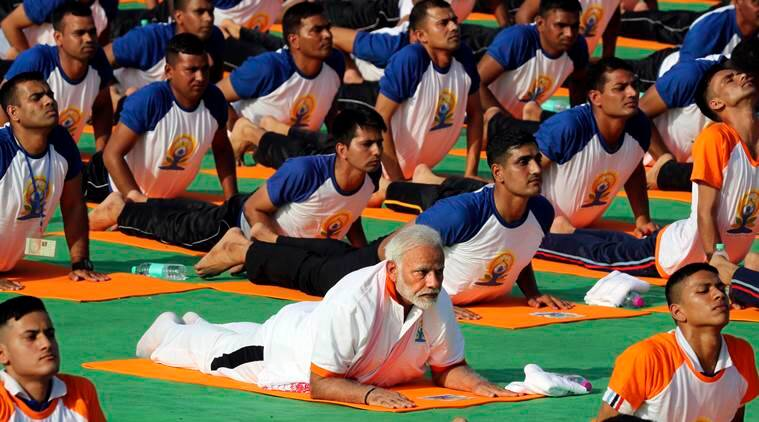 international yoga day 2019, pm modi yoga, yoga day, international yoga day, international day of yoga, ministry of ayush, yoga for health, yoga for all, yoga day 2019, jun 21 yoga day, modi yoga, indian express