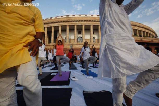 yoga day, yoga day 2019, yoga day photos. yoga day picture, 2019 Yoga day, Yoga day Modi, international yoga day, international yoga day 2019, international yoga day 2019 live streaming, international yoga day 2019 speech, international yoga day 2019 narendra modi, narendra modi, narendra modi speech, yoga day 2019, yoga day speech, happy yoga day, indian express