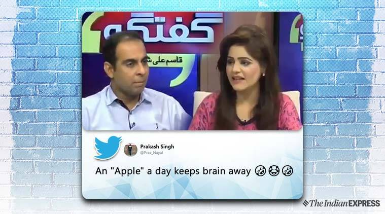 pakistan, pakistan funny tv, pakistan funny news anchor, pakistan anchor confuse apple, apple inc with fruit pak tv, funny news, viral news, indian express