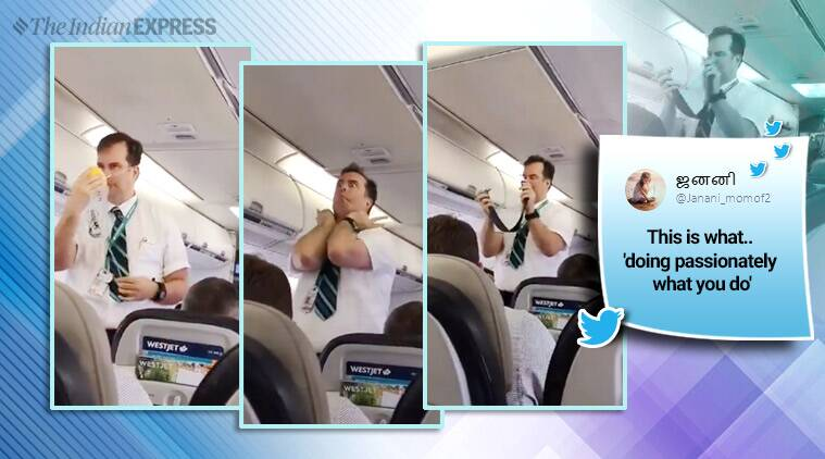 funny flight announcement, funny flight attendant, westjet, west jet funny announcement, viral video, indian express, funny news,