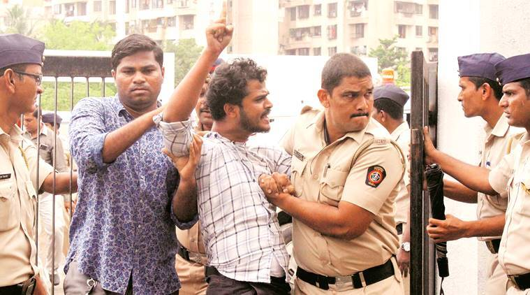 mumbai university, mumbai university function, abvp shiv sena clash, abvp protest, mumbai university abvp protest, Aaditya Thackeray, indian express news