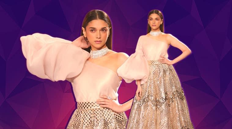 aditi rao hydari show stopper, aditi rao hydari couture week, aditi rao hydari couture week, pankaj and nidhi, pankaj and nidhi couture week, indian express, indian express news