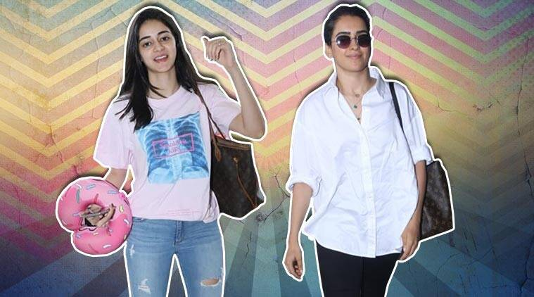 airport look, celeb fashion, ananya panday, sanya malhotra, indian express fashion
