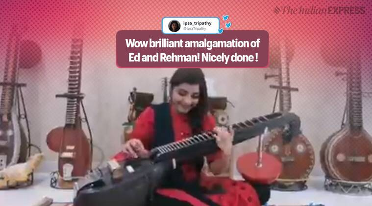 Ed Sheeran, Shape of You, AR Rahman, Urvashi Urvashi mashup rahman songs, sheeran songs, veena, veena mashup viral video, twitter reactions, indian express, indian express news