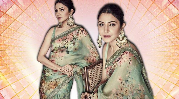Anushka Sharma, Sabyasachi, floral green saree