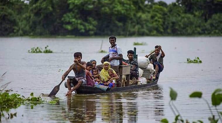 Assam floods, Assam flood deaths, Assam flood situation, Assam Chief minister, PM calls Assam chief minister, Assam flood news, Assam news, North East news, Indian Express news