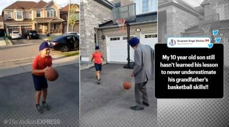 Grandpa beats 10 year old grandson in basketball trending video, Sikh grandpa beats grandson in basketballtrending video, Grandpa beats grandsoon in basketball match, Grandpa's basketball skill, viral video, trending video, Indian Express