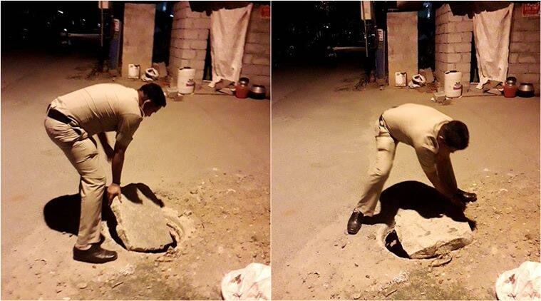 bengaluru, bengaluru constable, bengaluru cop covers manhole, bangalore police good deed, viral news, indian express
