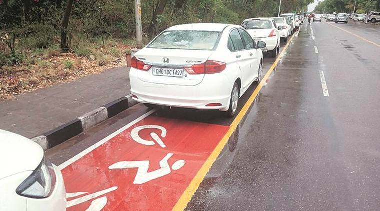 Chandigarh: Vehicles parked on cycle track near High Court, bar body to manage parking lot now
