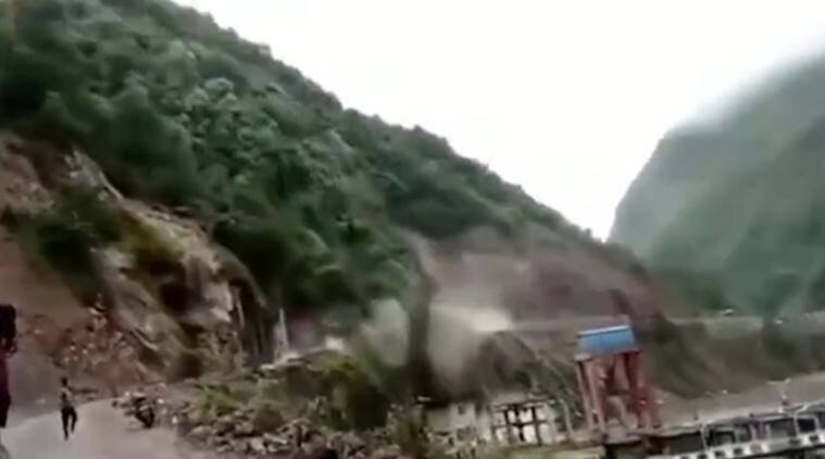 China, China landslide video, China landslide video, China rain, landslide video china, indian express, latest news