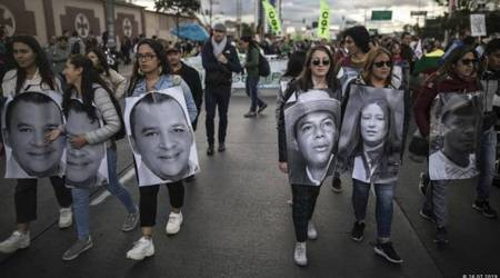 Thousands protest against activist slayings in Colombia