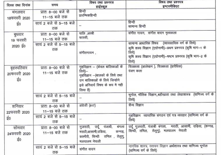 up board, up board date sheet, up bard time table, up board class 12 exams, up board class 109 exas, up board exams 2020 datehseet, upmsp, uttar pradesg madhyamik shiksha parishad, upmsp.edu.in, board exams, board exam results, up board results, education news