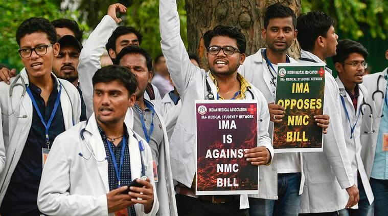 National Medical Commission Bill in parliament, doctors protest nmc Bill, doctors strike against NMC bill, harsh Vardhan, Indian express
