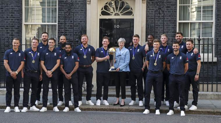 ICC world cup 2019, world cup 2019, England vs New Zealand, New Zealand vs England, Theresa May, Prime Ministers Congratulating, England world cup win, world cup England win , world cup news, sports news,Indian express