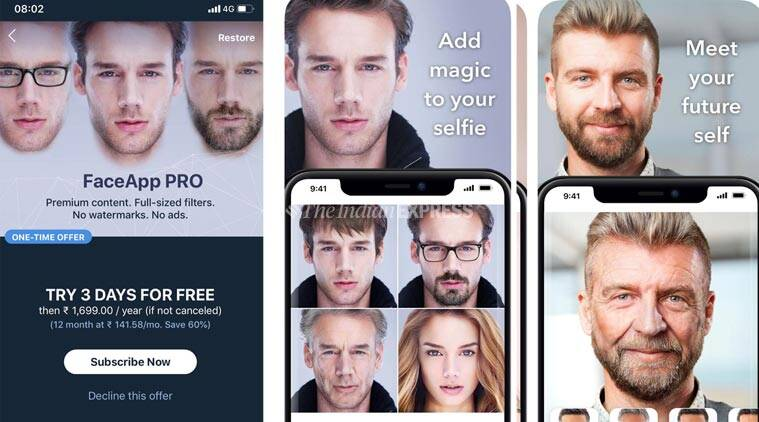 faceapp, face app, faceapp popularity, face app users, face app craze, artificial intelligence, social media, faceapp future self, indian express news