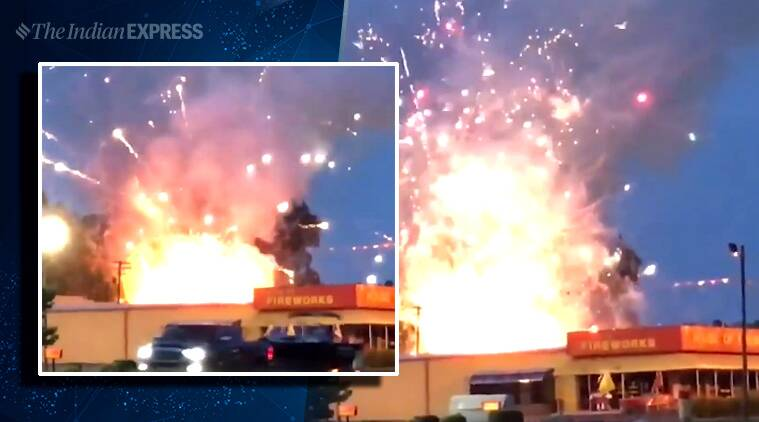 Early Fourth of July show: Firefighters battle fire