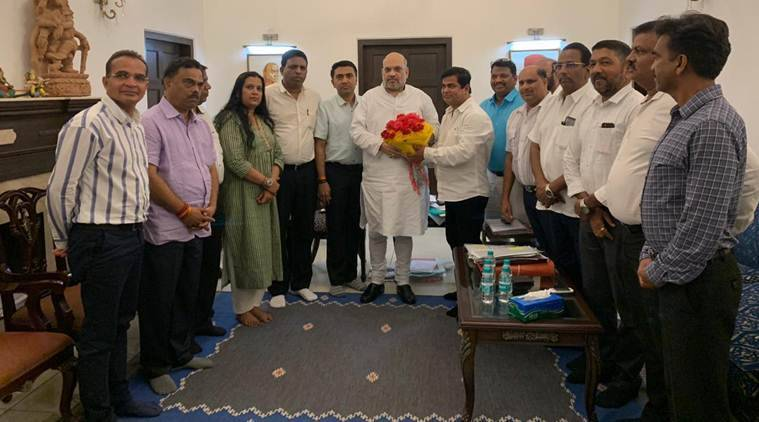 Newly merged MLAs with BJP national president Amit Shah. They had the meeting in the evening and are expected to return by morning flight. Chief a minister Pramod Sawant is expected to return later in the evening on Saturday after attending a meeting on mining in delhi.