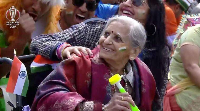 ind vs ban, icc world cup, india vs bangladesh, elderly indian fan, indian woman ind vs ban, Charulata Patel, viral news, indian express, sports news, cricket news, world cup news
