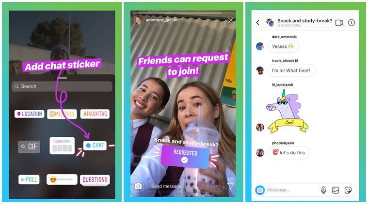 Instagram's new 'chat' sticker lets you start group conversation from  Stories | Technology News,The Indian Express