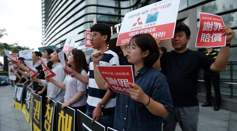 Japan-South Korea relations, Tokyo protests, Japan South Korea export, High tech equipment export, Japan S Korea high tech equipment export, World news, Indian Express news