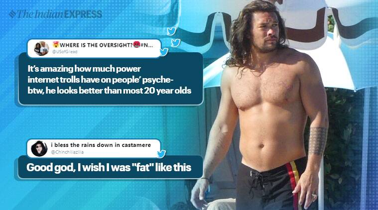 Jason Momoa, Jason Momoa body shamed, Jason Momoa pic, Game of Thrones, Jason Momoa dad body, twitter reactions, indian express, indian express news