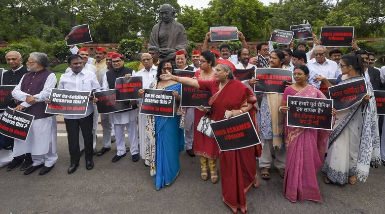 Samajwadi Party member Jaya Bachchan and other MP's from various opposition parties stage a protest over the accident of Unnao rape survivor and ex-soldier beaten to death (in Amethi, UP), at Parliament House during the Budget Session, in New Delhi, Tuesday, July 30 (PTI)