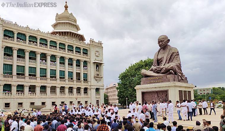 Karnataka-Congress-dharna-protest-Gandhi-statue-BJP-conspiracy-protest-Express-Photo