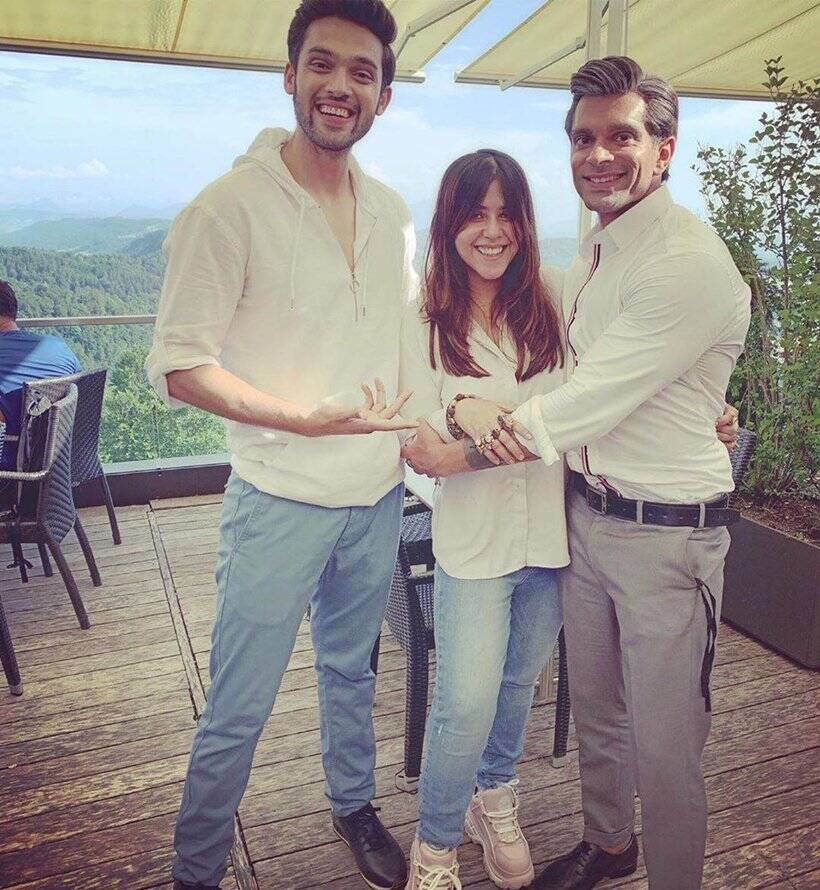 ekta kapoor with karan singh grover and parth samthaan