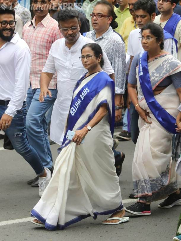 Mamata Banerjee, Mamata Banerjee rally, save water day, save water-save life rally, Mamata Banerjee padayatra, water conservation, water crisis, Kolkata, Indian Express news