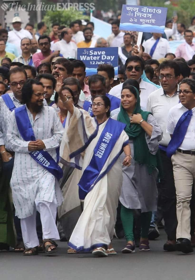 Mamata Banerjee, Mamata Banerjee rally, save water day, save water-save life rally, Mamata Banerjee padayatra, water conservation, water crisis, Kolkata, Indian Express news