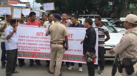 manipur farmers protest, farmers protest in manipur, manipur protestors, manipur protests, protests in manipur, manipur drought, manipur government, northeast news, Indian Express