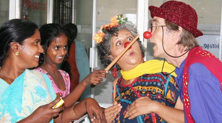 medical clowning, clowning therapy, clowning professionals, clowning in hospitals, indian express
