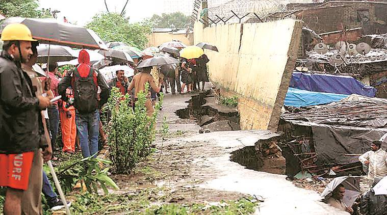 mumbai wall collapse, malad wall collapse, malad wall, kurar wall, mumbai wall fall, mumbai wall bmc, mumbai wall fall high court, mumbai wall collapse report, indian express news