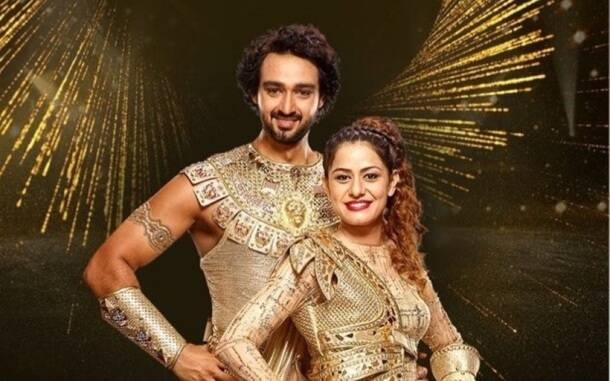 Sourabh Raj Jain with his wife on Nach Baliye season9