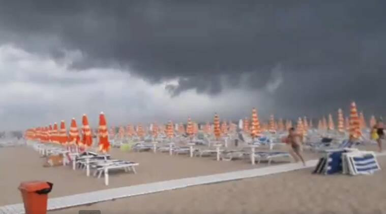 Italy, beach thunderstorm, Tortoreto beach, violent weather, viral video, twitter reactions,