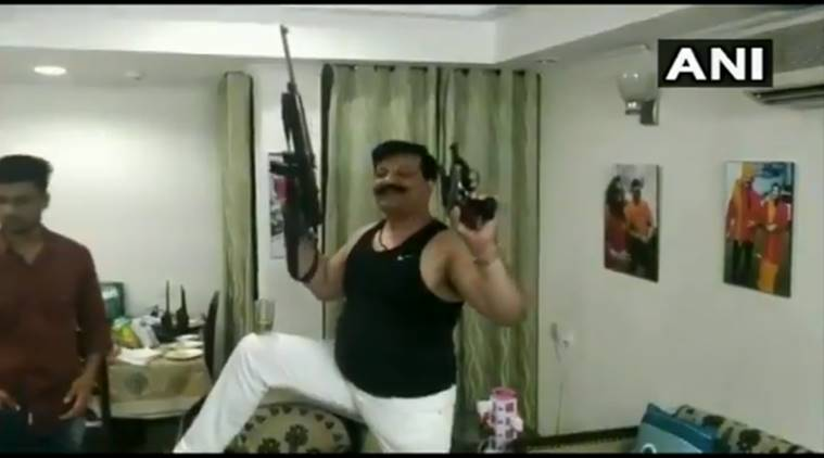 Kunwar Pranav Singh Champion, BJP MLA Champion dancing video, Kunwar Pranav Singh Champion dancing, bjp mla Champion dancing with guns, indian express