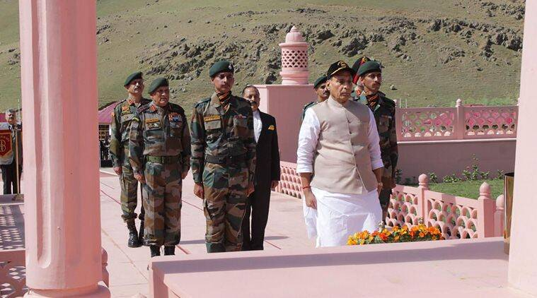 rajnath singh, defence minister rajnath singh, kargil war, kargil war 20 years, kargil war martyrs, kargil war soldiers, Kargil war memorial, Jammu and Kashmir Kargil war memorial, 2 Kargil victory, Indian Express news, latest mews