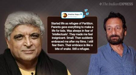 shekhar kapur, javed akhtar, shekhar kapur refugee tweet, shekhar kapur intellectual snake bite tweet, javed akhtar slam shekhar kapoor, indian express, viral news, entertainment news