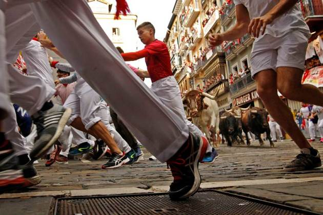 spain, bull running, san permin, pamplona, annual bull-running festival, world news, indian express