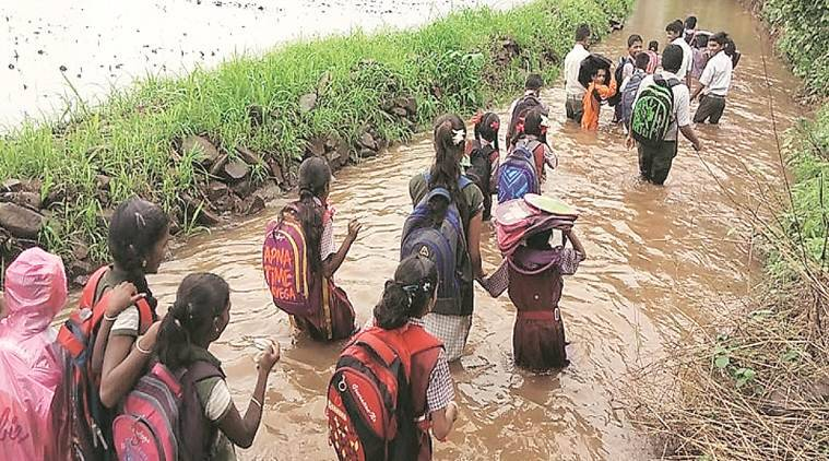Thane: Collector orders building of road on water-filled stretch used by school kids