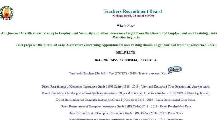 Tamil Nadu TNTET answer key 2019 released, how to raise objections