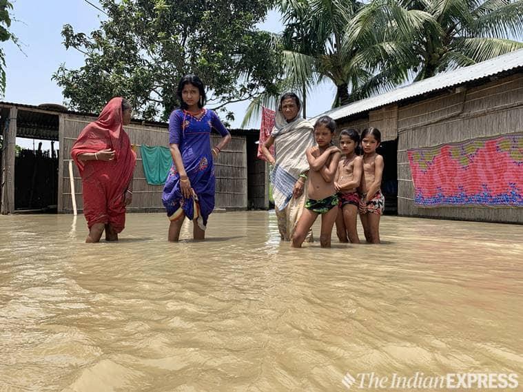 Assam, Assam floods, Assam flood news, Asam NRC, NRC Assam draft, Assam weather, Assam news, Assam rain news, Assam floods army, Baksa, Baksa assam, Assam floods,Kaziranga National Park indian express, latest news