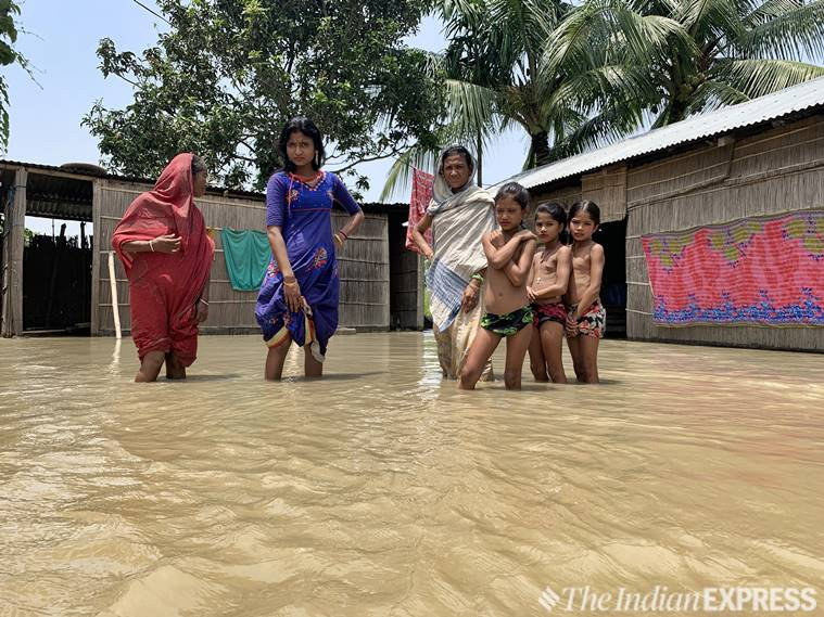 Assam, Assam floods, Assam flood news, Asam NRC, NRC Assam draft, Assam weather, Assam news, Assam rain news, Assam floods army, Baksa, Baksa assam, Assam floods,Kaziranga National Park indian express, latest news
