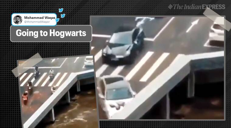 Video of cars 'disappearing' from bridge leaves netizens confused
