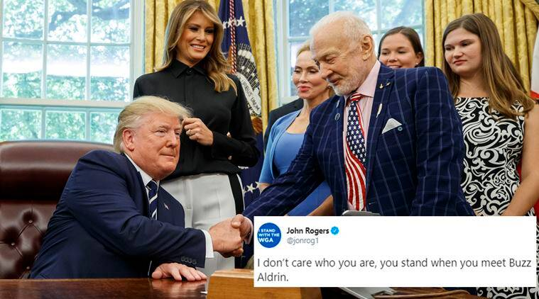 50th anniversary of moon landing, apollo 11, apollo 11 anniversary, donald trump, buzz aldrin, trump apollo 11 astronauts meet, trump buzz aldrin, viral photo, viral news, indian express,