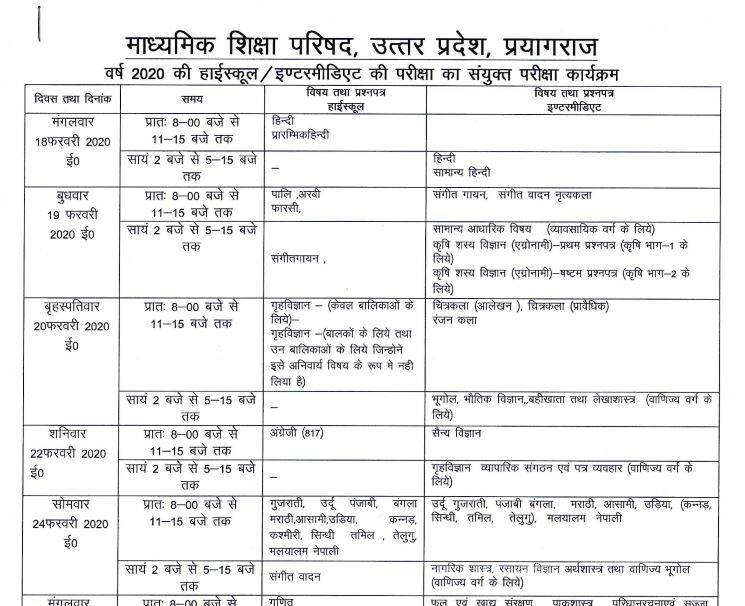 UP board UPMSP exam time table 2020 released, check date