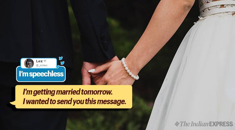 twitter message, message from ex, sweet message from ex, touching message to ex before marriage, girl happy for her ex's marriage, twitter message for ex, sweet twitter message, trending, trending globally, Indian express