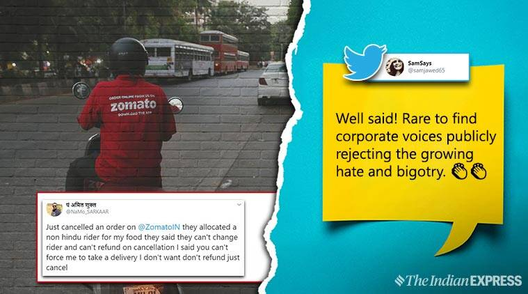 zomato, man cancel order for muslim delivery guy, hindu man cancel order muslim delivery, omato food is religion tweet, zomato say no to religious hate, viral tweets, indian express, viral news