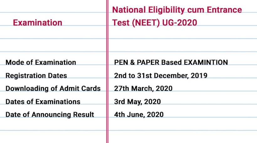 NTA JEE Main, UGC NET, NEET 2020, IIFT MBA: Exam date, schedule, application form online details ...